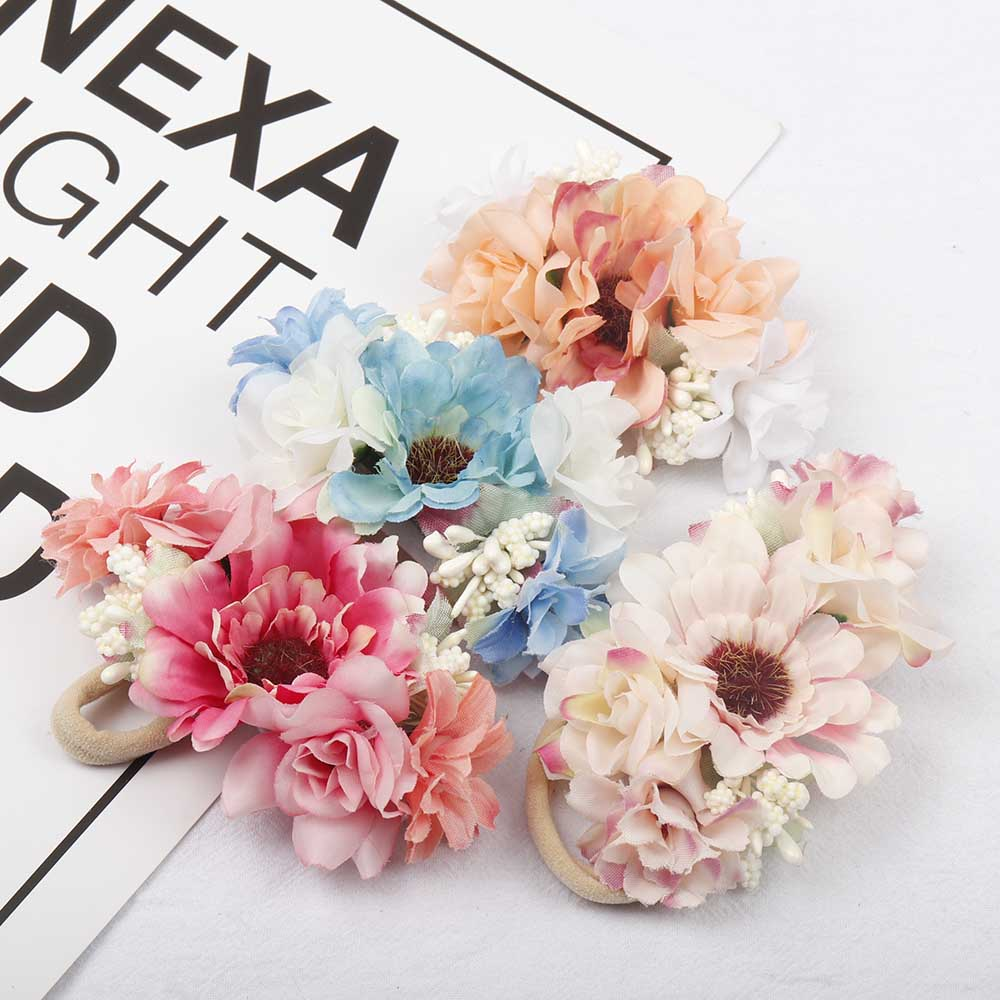 AHB Fashion Artificial Flowers Nylon Headband for Baby Girls Photography Props Headwraps Kids Headwear Hair Accessories