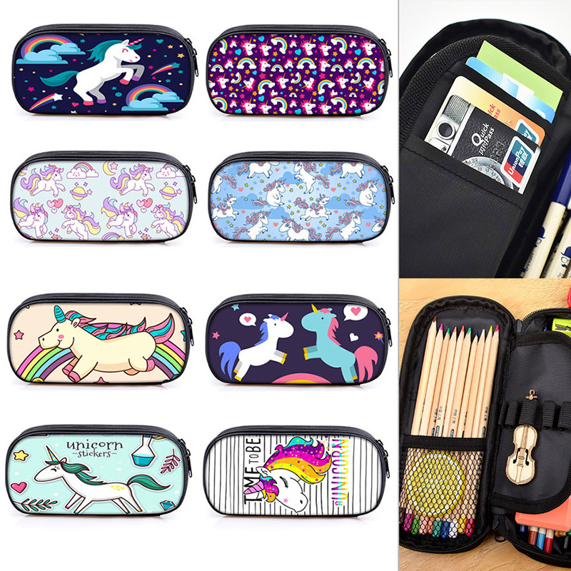 Large Space Kawaii Creative Unicorn Fabric Zipper Pencil Case Cute Multipurpose School Pen Bags For Gift Student Stationery