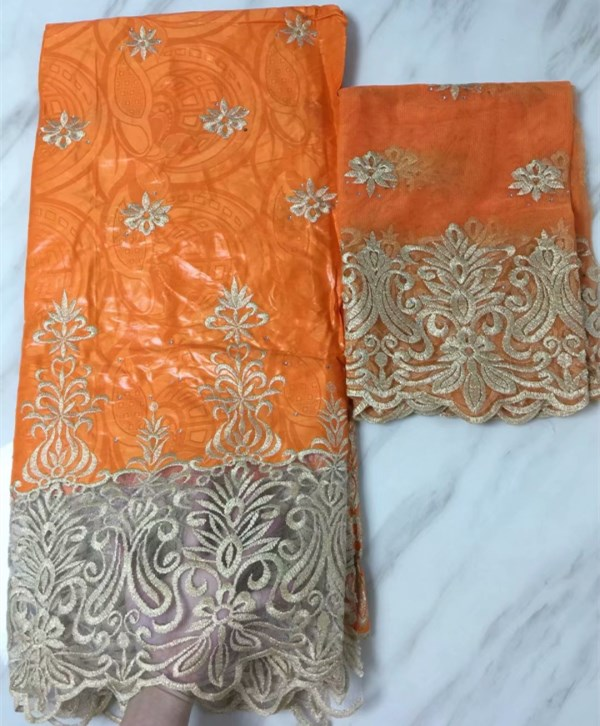 2018 New Design Bazin Riche Lace Fabric With Net Blouse Beaded Embroidered Basin Orange Color For India Women Party Dress Laces