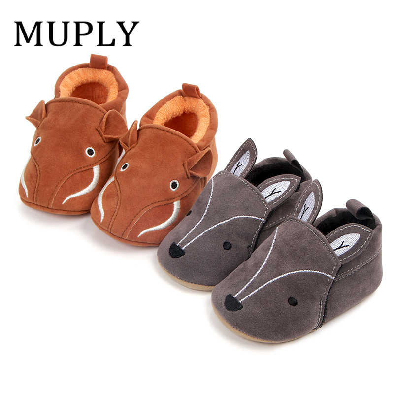 Infant Slippers Toddler Soft PU Leather Animal Pattern Baby Boy Girl First Walker Cute Cartoon Anti-slip Prewalker Baby Slippers