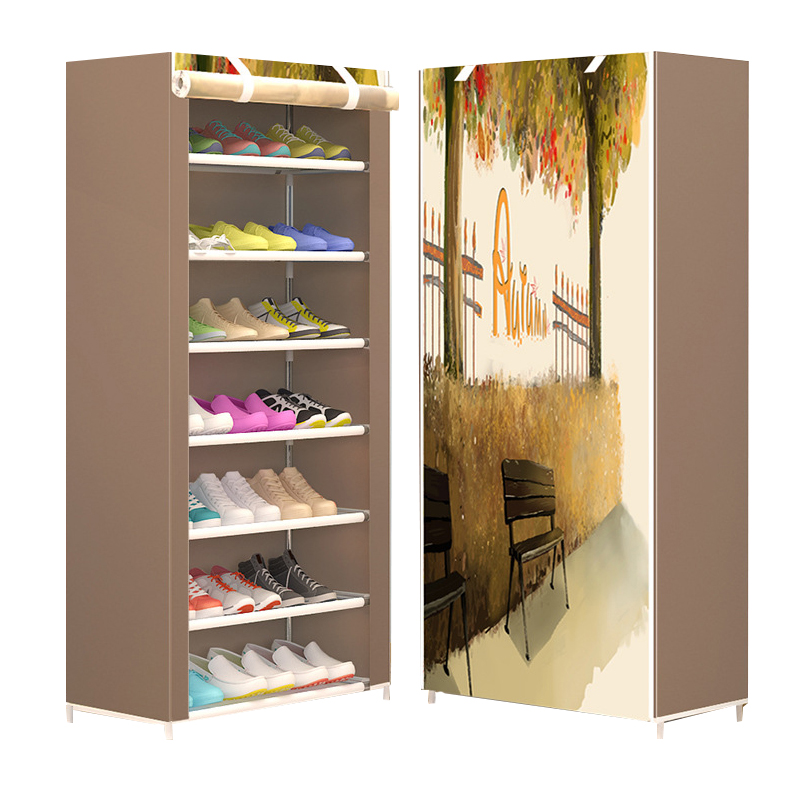 The new modern minimalist shoe eight layer thickening non-woven dust creative combination cabinet storage rack