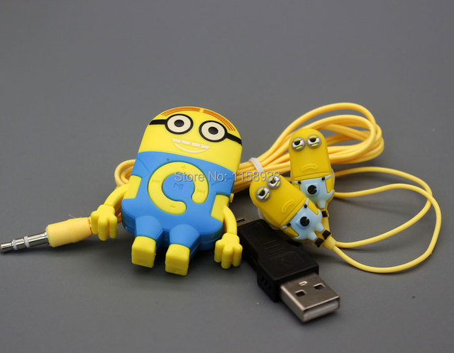 2015 Mini Despicable Me Minions Model  MP3 Player Support Blue pink color TF Card With Earphone USB