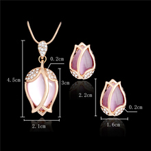 Pink Tulip Shaped Jewelry Set