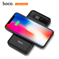 HOCO QI Wireless Charger Dual USB Power Bank 10000mah with Digital Display Powerbank for iphone 8 X XS Max XR External Battery