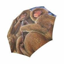 3 Monkeys Sun Foldable Rain Travel Umbrella 100% Fabric Aluminium High-Quality