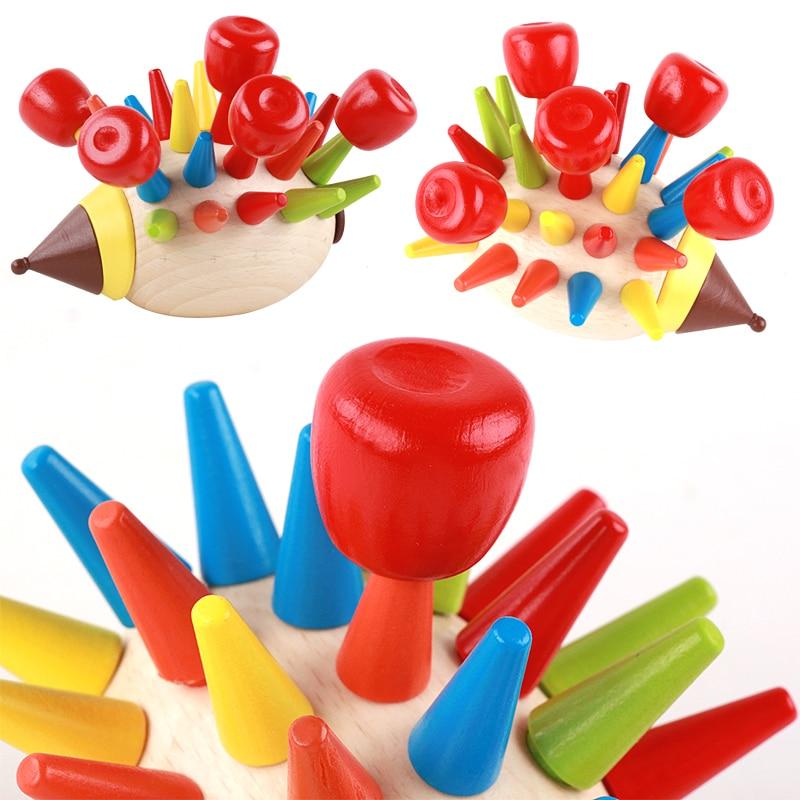 Baby Toys Hedgehog Fruit Instering Wooden Toys Model Blocks Coordination Skills Development Educational Toys For Kids Gift