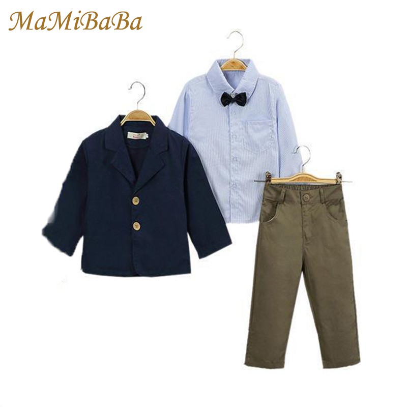Kids Baby Boys Clothing Sets 2018 New Spring Solid Cotton Coats + Shirts + Trousers Three Piece Set Pants Suit Boy Clothes Cs394 2 piece set new sport suit for boys cotton baby boy clothing sets hooded kids clothes set long suit boys clothes tracksuit tz001