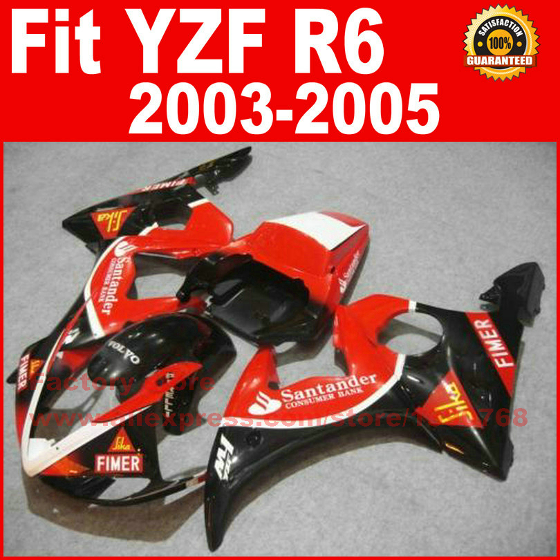 ABS plastic motorcycle fairings set for YAMAHA YZF R6 2003 2004 2005 YZFR6 03 04 05 red santander fairing kits bodywork parts road race motorcycle fairings kit for yamaha r6 2003 2004 2005 yzf r6 03 04 05 black silver fairing kits bodywork part