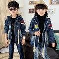 Fashion brand denim jacket boy skiing in winter wear men's and women's children's sweater war thick jacket