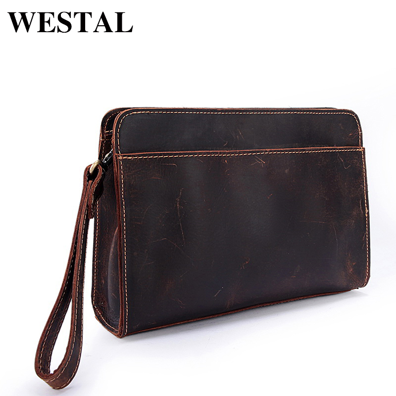 WESTAL Crazy Horse Genuine Leather Men Bag Men Wallet Phone Casual Clutches Man Day Clutch Bag Leather Handbag Male Purse chinese style vintage embossing genuine leather hand clutch bag celebrity day clutches women shoulder bag purse wallet phone bag