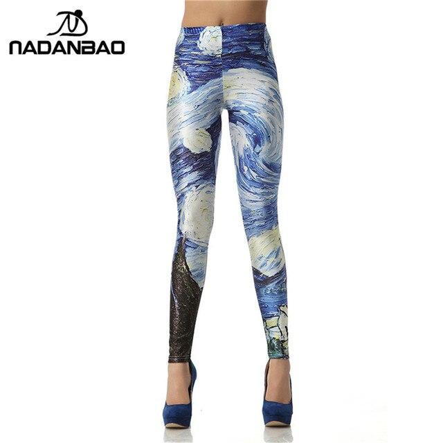 34800cf618 NADANBAO Women leggins 3D Digital Van Gogh Starry Night Galaxy Print Women  Leggings Woman Pants