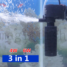 Мини аквариумный аквариум фильтр насос для аквариума небольшой насос 3 Вт для губки фильтр + поток воды + увеличение воздуха аквариумный фильтр