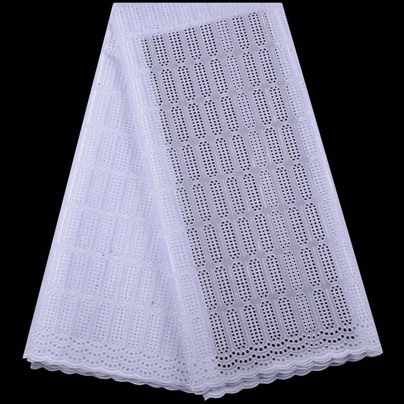 Nigerian African Lace Fabrics High Quality For Men Cotton Dry Lace Fabric With Stones Swiss Voile