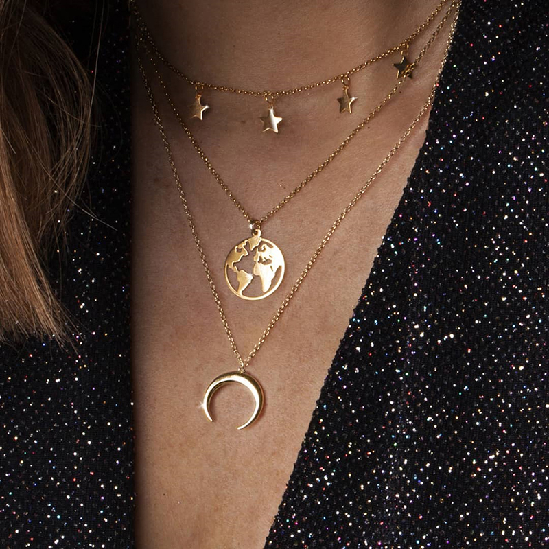 Ashion Multiple Layers Neacklace 2019 Pentagram World Map Moon Crescent Alloy Pendant Multilayer Combination Necklace image