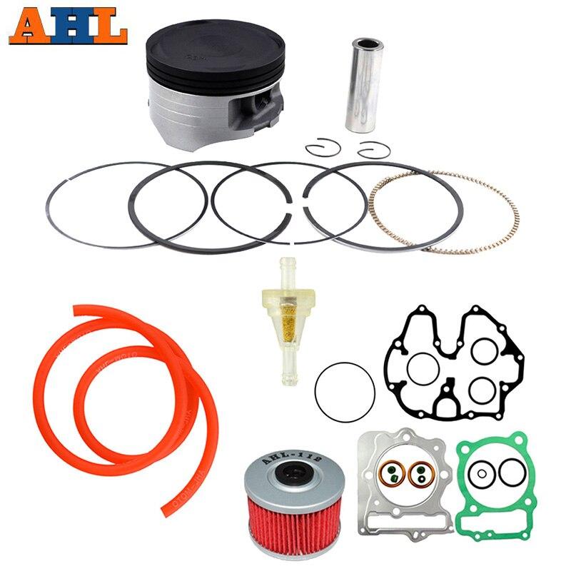 AHL Motorcycle Piston Piston Rings Gasket Oil Filter Fuel Oil Tube Oil Fuel Filter Kit For