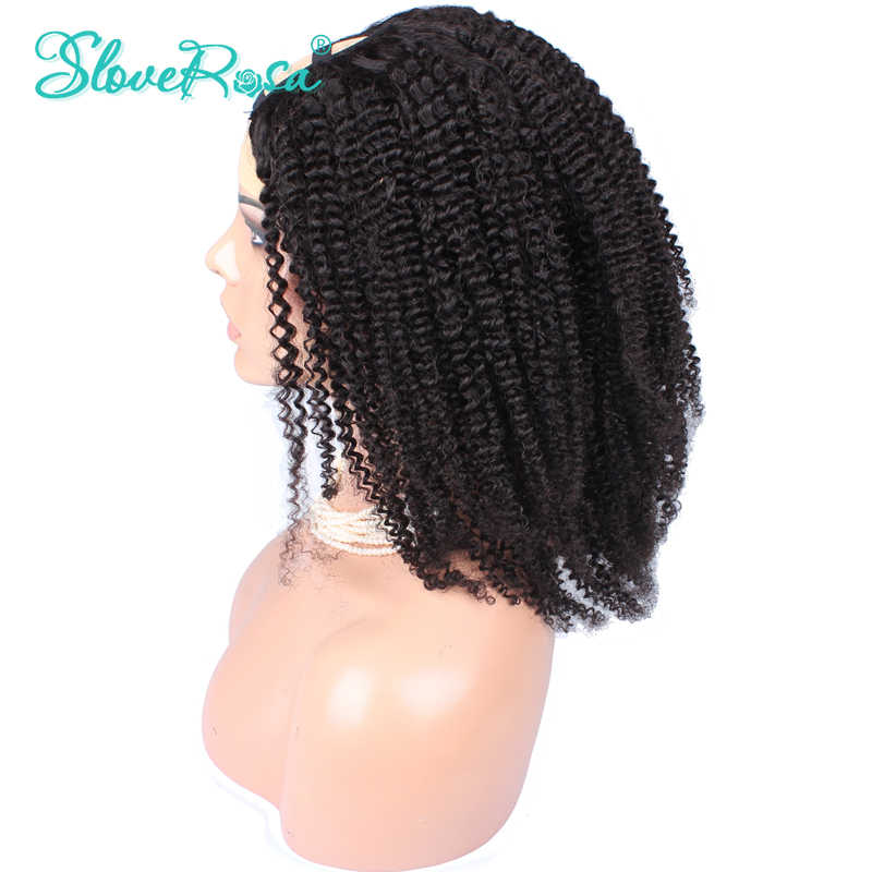 Glueless 100% Mongolian Kinky Curly U Part Human Hair Wig For Women Brazilian Remy 150% With Strap Natural Black Slove Rosa