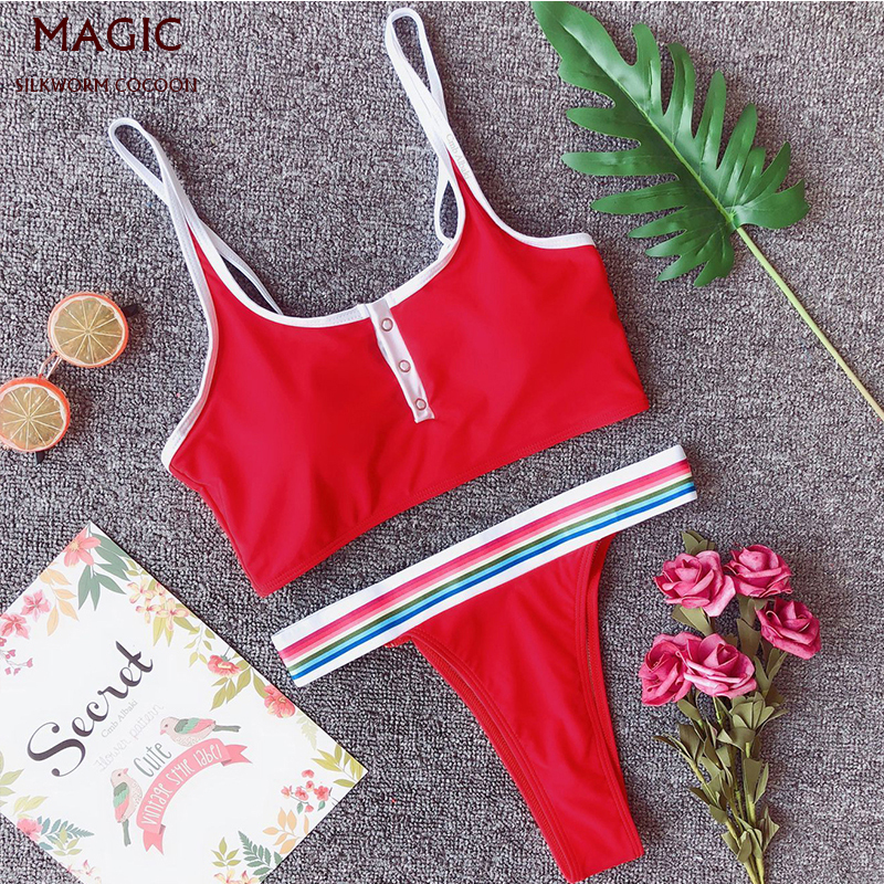 New Sexy Buckle Bikini Set Women High Waist Swimming Suit Female Sports Swimwear Biquini Multiple Colour Push Up Swimsuit Red