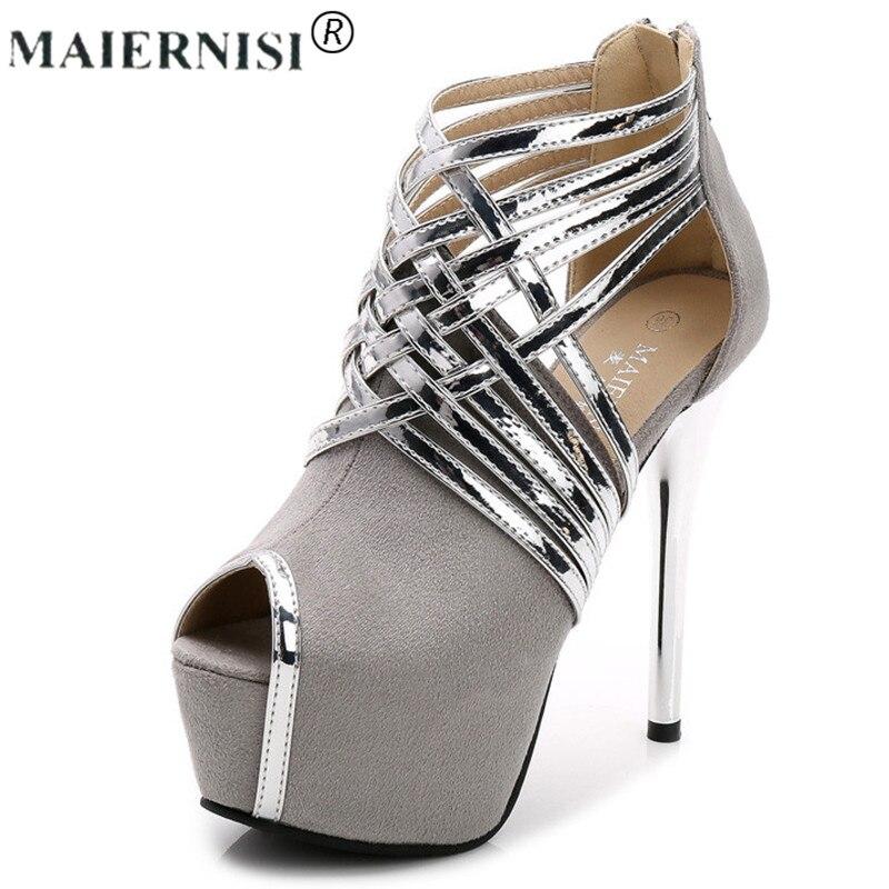 Плюс Размеры открытый носок с перекрестными ремешками скидка Обувь лодочки на платформе квадратный высокий тонкий каблук замши или блеск к...