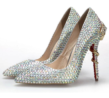 AB Crystal Rhinstone Wedding Shoes Pointed Toe Bridal Dress Shoes Evening Party Prom Pumps Cobra Metal Multicolor Single Heels