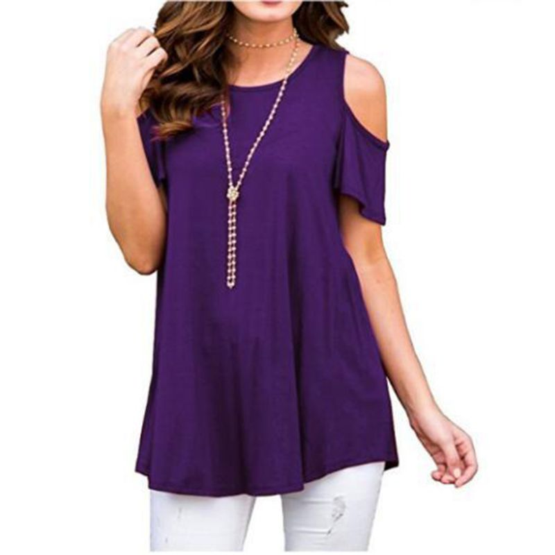 Women Plus Size Short Sleeve Cold Shoulder Tunic Tops Solid Color Crew Neck Pullover Loose T Shirt Flowy Irregular Casual in T Shirts from Women 39 s Clothing