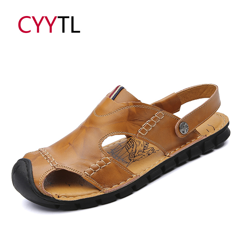 CYYTL Summer Men Leather Shoes 2019 New Fashion Sandals Outdoor Beach Slippers Casual Water Flip Flops Sandalias Hombre Zapatos