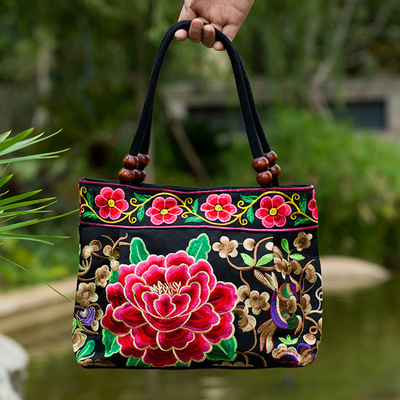 New Fashion Embroidery Women Small handbags!National Floral Embroidered Lady Top-handle bags Single-layer Beading Falp Carrier image