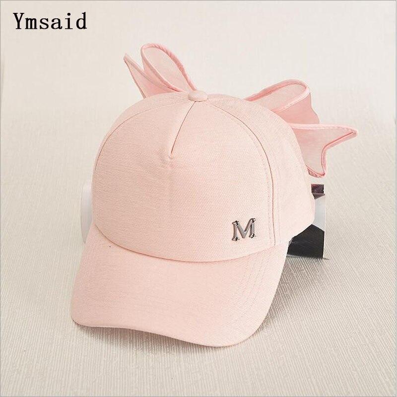 HOT Korea Spring   Cap   M mark Pink Hat With Big Bow Bending Brimmed Hat   Baseball     Caps   Visor Women And Girl Sun Hat