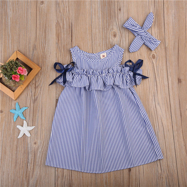 Toddler Kids Baby Girls Dress Summer Clothes Striped Off-shoulder Party Gown Formal Dress Bow Headband 2