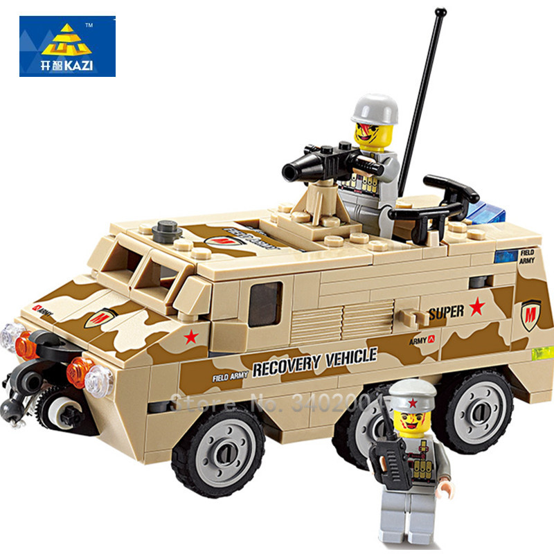KAZI 180Pcs DIY Armored Personnel Car Building Blocks Educational Jigsaw DIY 3D Construction Bricks Playmobil Toys for Children