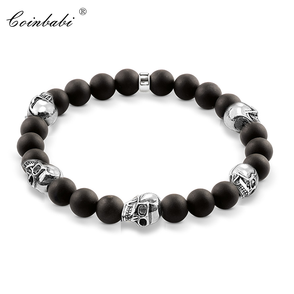 Thomas Black Five Skull Bead Bracelet Black Obsidian Heart Matted Bracelet, Ts Rebel 925 Sterling Silver Jewelry Gift For Men купить недорого в Москве