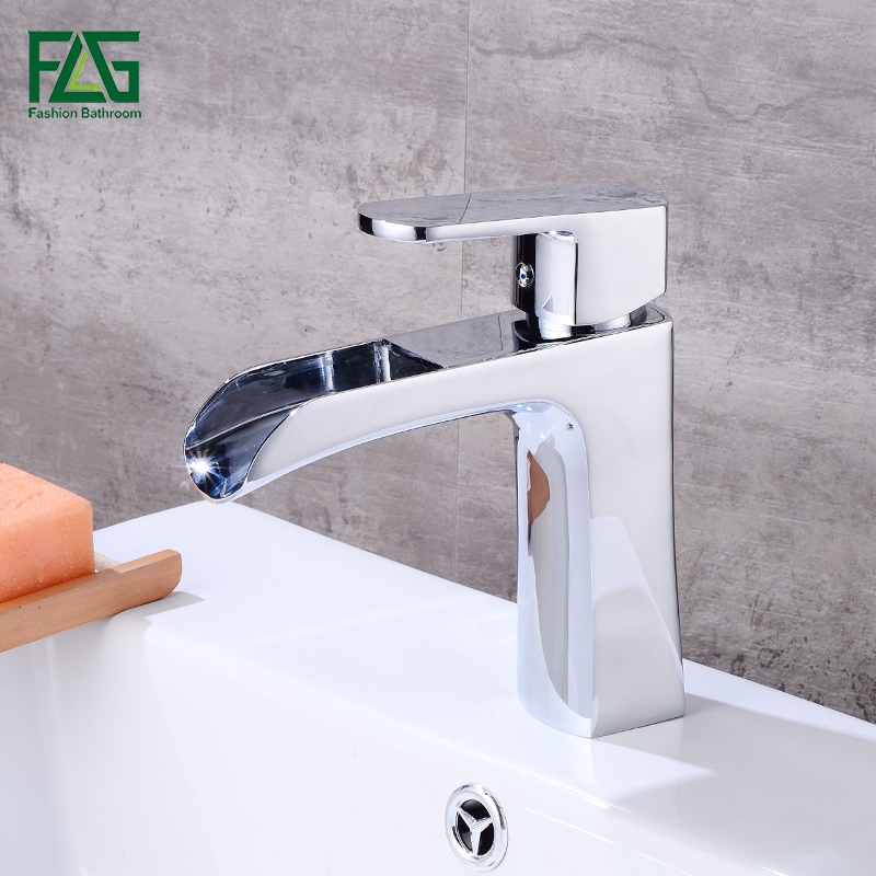FLG Sliver Waterfall Bathroom Basin Faucets Single handle Cold and Hot Brass Chrome Vessel Sink Water Mixer Tap Faucet 504-11 flg basin faucets modern orb bathroom faucet waterfall faucets single hole cold and hot water tap basin faucet mixer taps