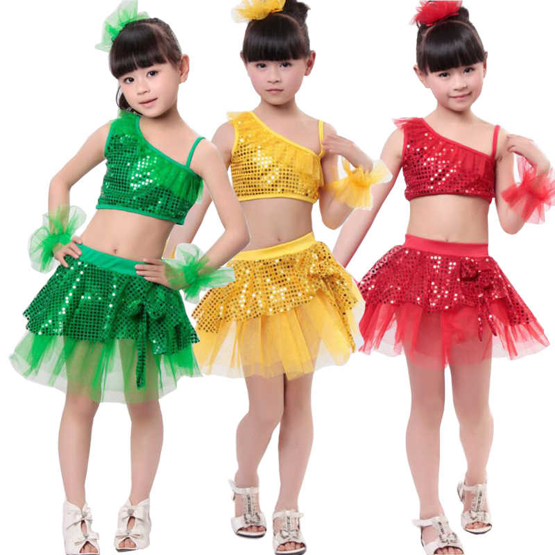cffbc33028548 Girls Sequined Jazz Modern Dancing Costumes dress Kids Children's Hip Hop  Dancewear Costumes Set Top+Short