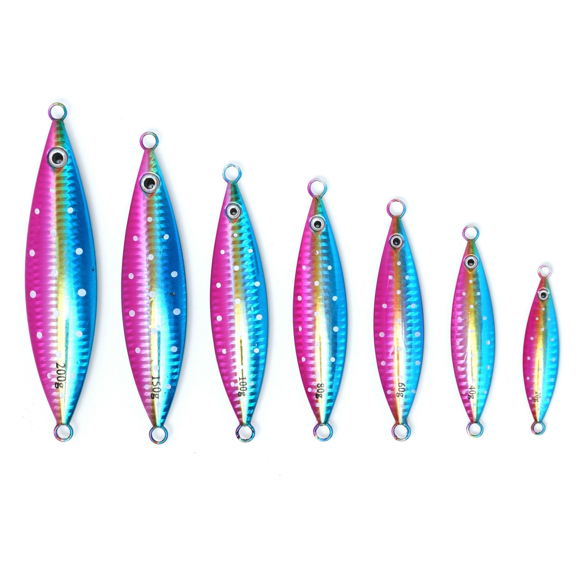 Anzhenji 4 pieces/lot Metal Fishing Lure Iron Plate Deep Sea Boat Pencil Jig Fishing Bait lead fish 20g-200g Peche