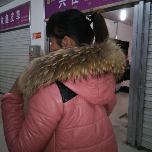 Real Raccoon Fur Collar Winter Warm scarf for Women Coat Straight Detachable Natural Collar Genuine Real Fur Sarf Collar S#24