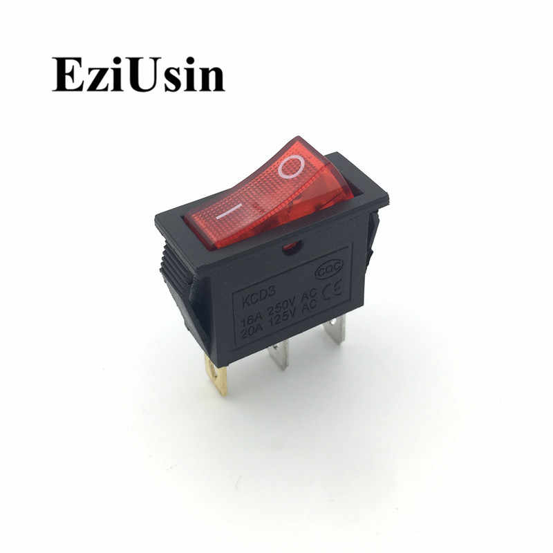 1pcs On-Off KCD3-101N 3Pin Green Red Light Boat Car Rocker Switch 16A 250V 20A 125V AC Button KCD3 KCD8-211N