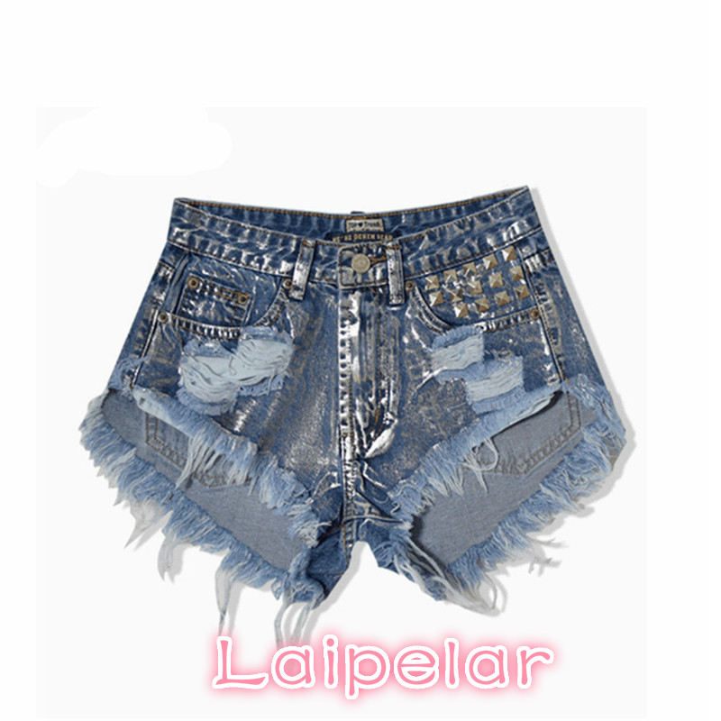 2018 Summer jean shorts for woman high waisted shorts women beach rivert ripped casual sexy denim shorts plus size Laipelar in Shorts from Women 39 s Clothing