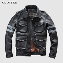 CARANFIER DHL Free Shipping Mens Genuine Leather Jacket Multi-pocket Luminous Letters Safety Tips Motorcycle 3XL
