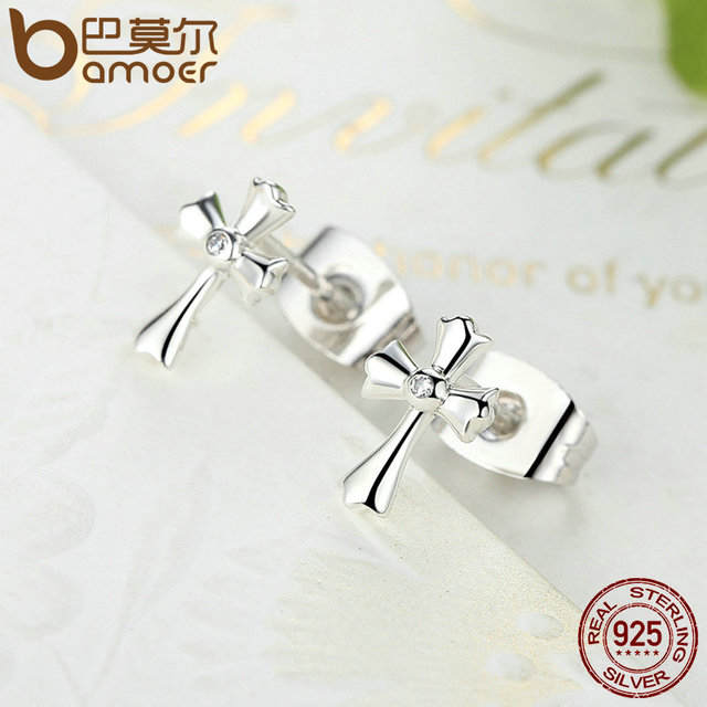 Sterling Silver Classic Symbol Of Faith Cross Stud Earrings