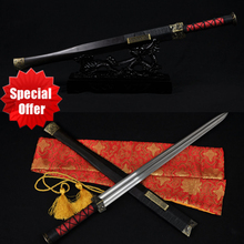 Real Handmade Chinese Sword Han Jian Damascus Steel Straight Full Tang Blade- Battle Kung Fu China Swords Double Edge Very Sharp