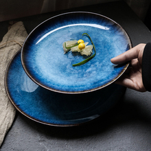 blue Western-style plate, Japanese flat plate, round tray, domestic commercial steak dish plate.