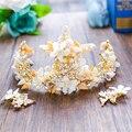 Concha de mar Aretes de Perla Rhinestone Corona Tiara Nupcial Celada Accesorios para el Cabello de Novia Boda de Playa Joyería WIGO0994