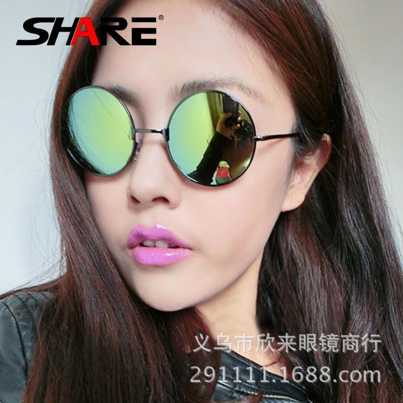 72602e272e8d8 Super Fashion Cool sunglasses redondo Bright film semi blue round oculos de sol  grau brand sun glasses feminino masculino m49-in Movie   TV costumes from  ...