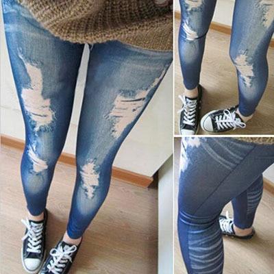 Korean Blue Black New Fashion Women Leggings Fitness Leggins Slim False Hole Imitation Jeans