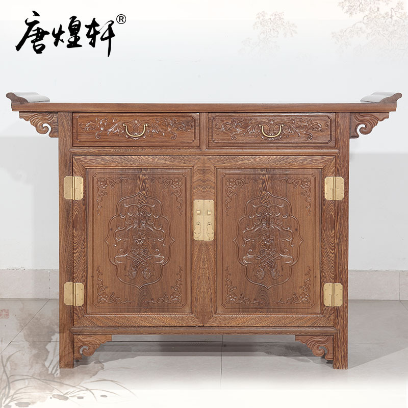 Mahogany Furniture Mahogany Wood Carved Huangxuan Tang Chinese Storage Even Two Cabinet Wood Antique Sideboard Table Table