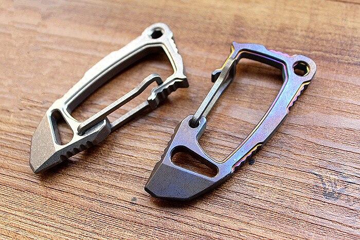 Mousquetons boucles alliage de titane EDC défense porte-clés rapide boucle pied-de-biche ouvre multi-outil