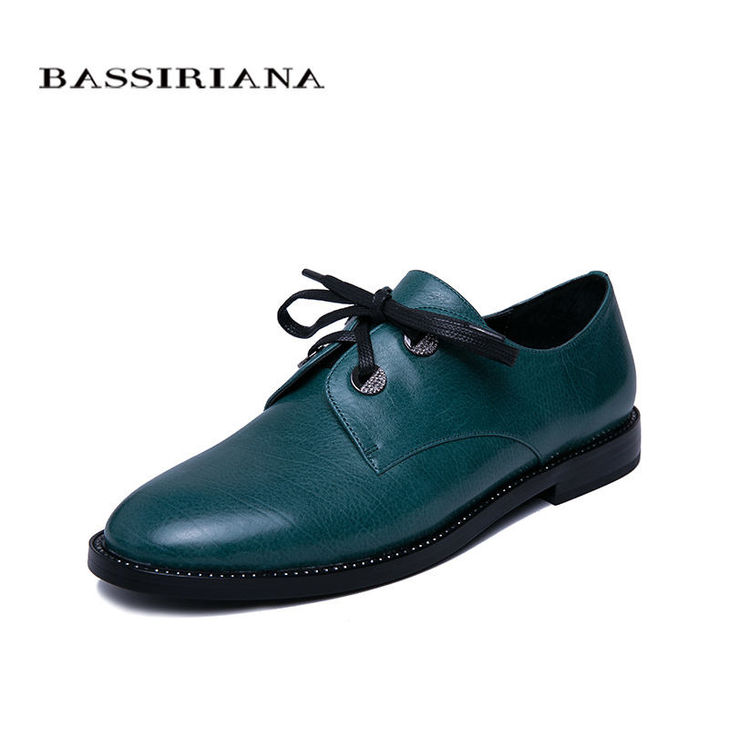 BASSIRIANA 2019 new spring ladies flat shoes basic leather round head strap casual women s shoes