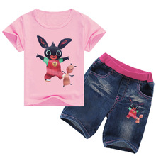Z&Y 2-12Years Kids Fashion 2018 Summer Bing Bunny Clothing Set Girls Shirts Short Jeans 2pcs Kinderkleding Outfits Nova