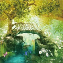Laeacco Oil Painting Dreamy Spring Green Tree Flower Creek Bridge Pattern Photography Backdrops Photo Backgrounds Studio