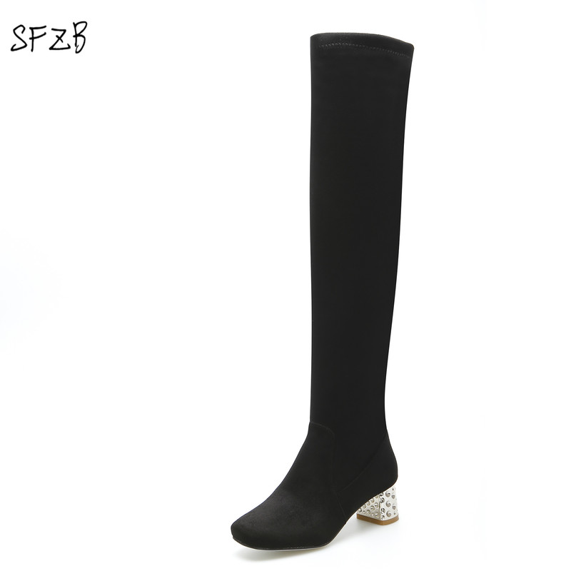 SFZB Slip On Winter Boots Stretch Lycra & Flock Over-the-Knee Boots Brand New Arrival Square Heel Women Shoes Female Footwear