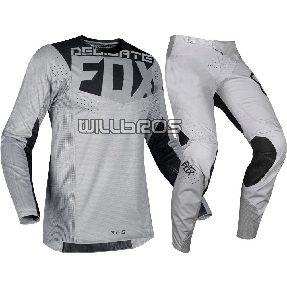 MX 360 Delicate Fox Motorbike Jersey Pants Motocross Mountain Bicycle Sports MTB ATV Bike Men's Grey Gear Set